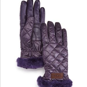 🧤UGG purple quilted shearling-cuff tech gloves🧤